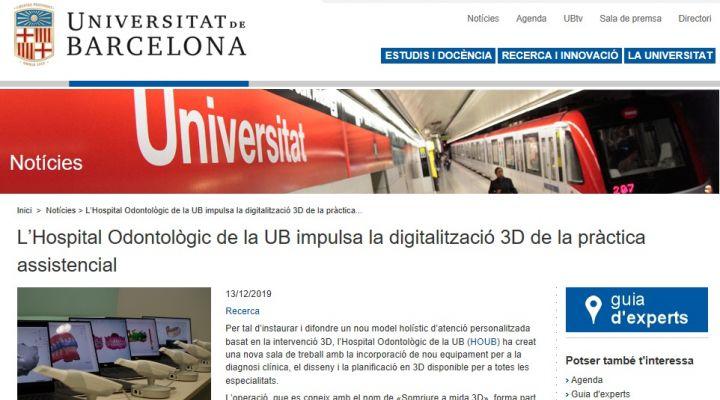 La UB publica en su web el proyecto en digitalización 3D impulsado por el Hospital Odontològic UB